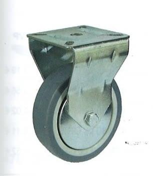 Rueda de goma gris termoplástica 60 mm con platina soporte fijo AFO