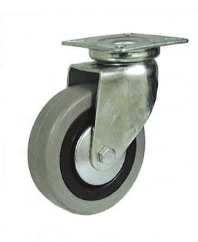 Rueda con aro de goma gris 60 mm con platina base de sujeción AFO