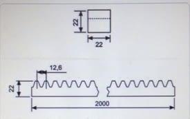 Cremallera zincada soldar para puerta corredera 22x22x2000 mm AUMON - 1