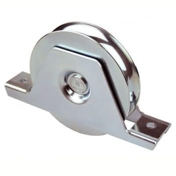 Rueda con soporte atornillar INOX canal redondo de 20 mm AUMON