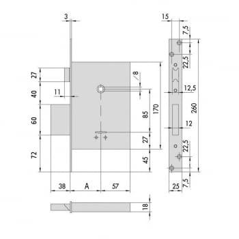 Cerradura embutir borjas con palanca y picaporte 60 mm CISA - 1