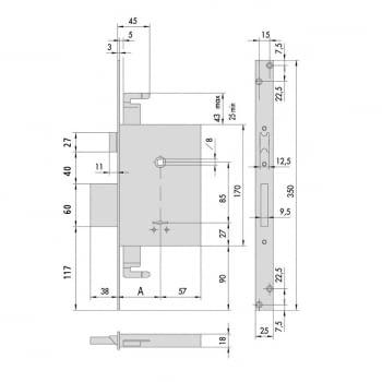 Cerradura embutir borjas con palanca, picaporte y cierre sup. 60 mm CISA - 1