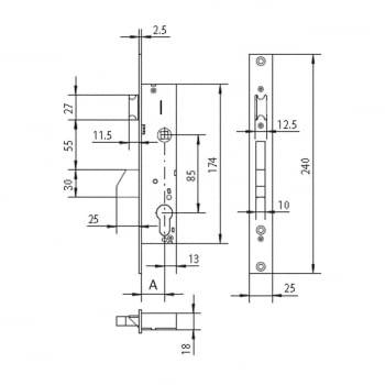 Cerradura embutir  mod. 4040 golpe y llave CISA - 1