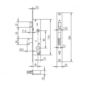 Cerradura embutir  mod. 4140 golpe y  gancho CISA - 1