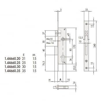 Cerradura embutir mod. 44660 llave y golpe CISA - 1