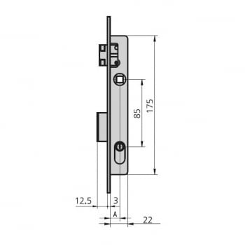 Cerradura embutir mod. 1963/0 aguja 12 mm niquelada CVL - 1