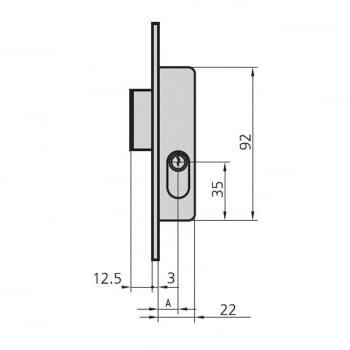 Cerradura embutir mod. 1963-A/0 aguja 16 mm llave sola CVL - 1