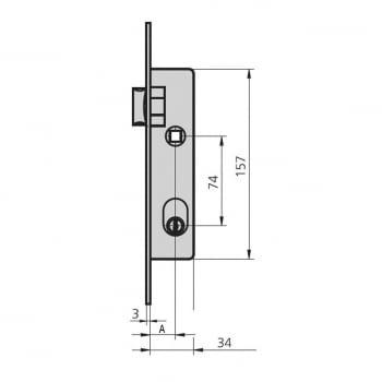 Cerradura embutir mod.1964-T/0 aguja 20 mm golpe y llave CVL - 1