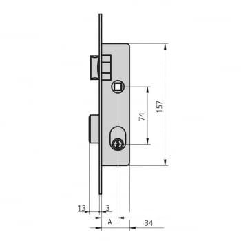 Cerradura embutir mod.1964-0 aguja 20 mm golpe y llave CVL - 1