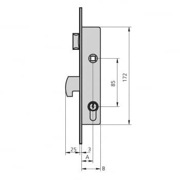 Cerradura embutir mod.1990 aguja 20 mm golpe y gancho CVL - 1