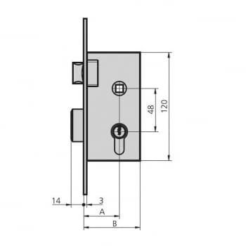 Cerradura embutir mod. 1960, aguja de 40 mm, llave y golpe CVL - 1