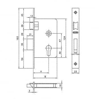 Cerradura embutir mod. 3100 llave y golpe EZCURRA - 1