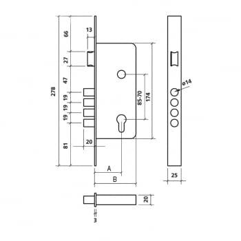 Cerradura embutir mod. 700-B antipalanca cilindro descentr.EZCURRA - 1