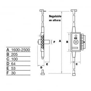 Cerradura sobreponer alta seguridad 3 puntos MB-86 FAC - 1