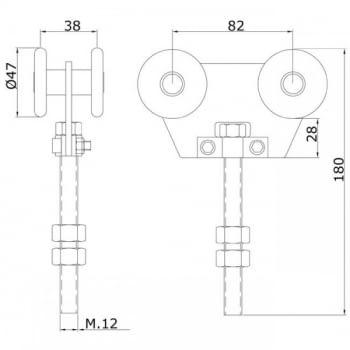 Roldana doble Rollapar de nylon para corredera colgada, guía 60 mm ESTEBRO - 1