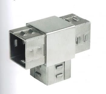 """Empalme """"T"""" recto cuadrado, para barandilla  INOX AISI-304 AUMON"""