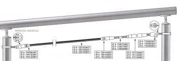 Kit 1 tramo para cable barandilla inox inclinada para poste de tubo