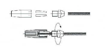 Kit 1 tramo para cable barandilla inox inclinada para poste de tubo - 1