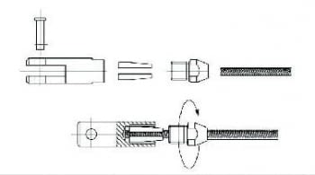 Kit 1 tramo para cable barandilla inox inclinada para poste de tubo - 2