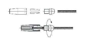 Kit 1 tramo para cable barandilla inox inclinada para poste de madera - 1