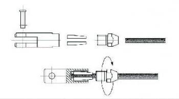 Kit 1 tramo para cable barandilla inox inclinada para poste de madera - 2