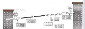 Kit 1 tramo para cable barandilla inox inclinada para muro de obra