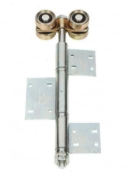 Roldana doble con bisagra atornillar para puerta librillo serie media zinc/bicro