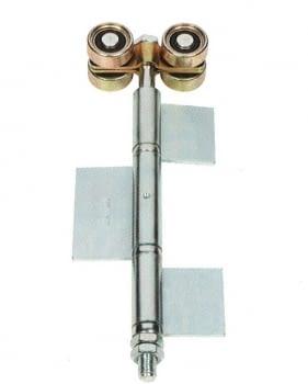 Roldana doble con bisagra soldar para puerta librillo serie media zinc/bicro