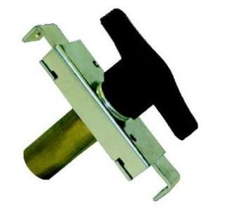Cerradura para puerta basculante llave serreta AUMON, cilindro niquelado