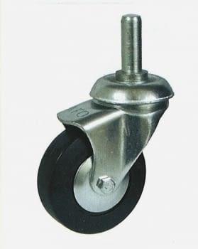 Rueda de goma 42 mm giratoria con soporte y espiga AFO
