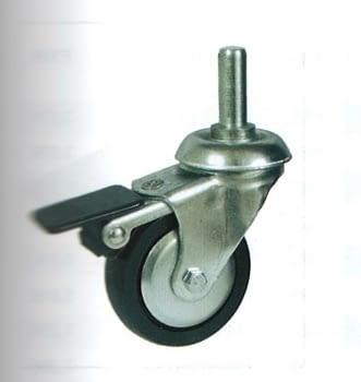 Rueda de polipropileno 80 mm, con freno,  soporte y espiga AFO
