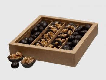 Cajita Chocolate con nueces y almendras bañadas al chocolate