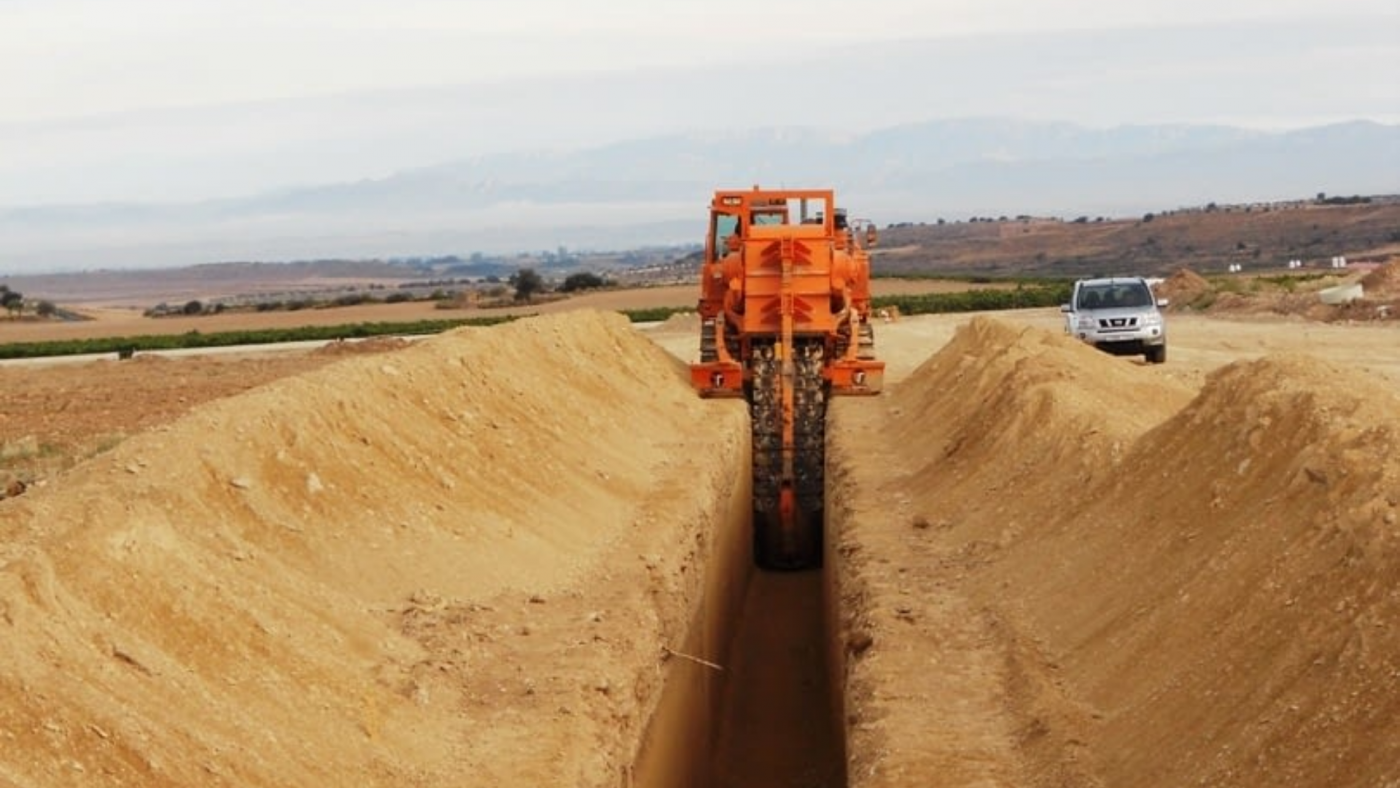 Calaf Trenching performing works at section 6 of the irrigation system Segarra-Garrigues