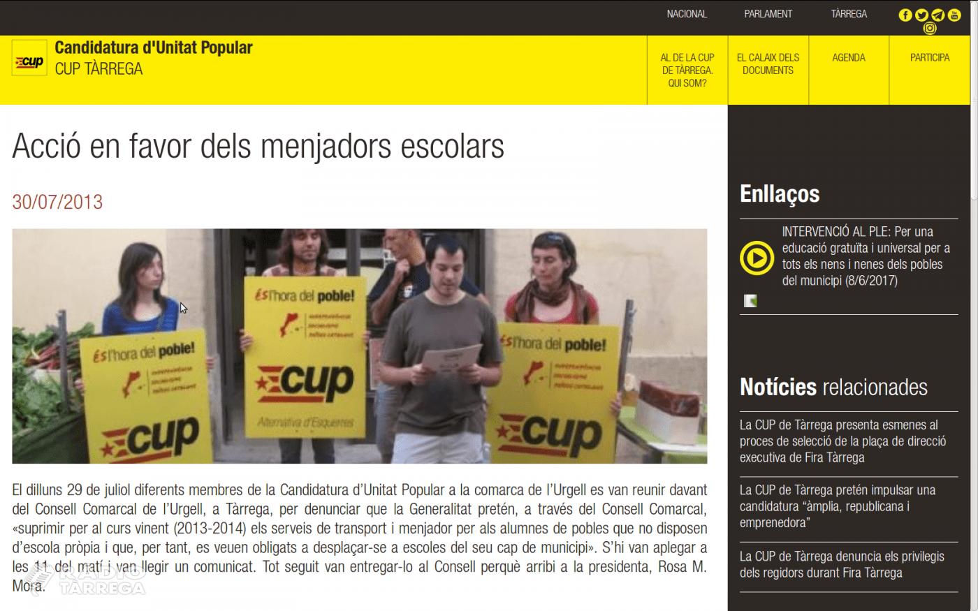 La CUP de Tàrrega presentarà una moció al Ple de l'Ajuntament contra el decret de menjadors