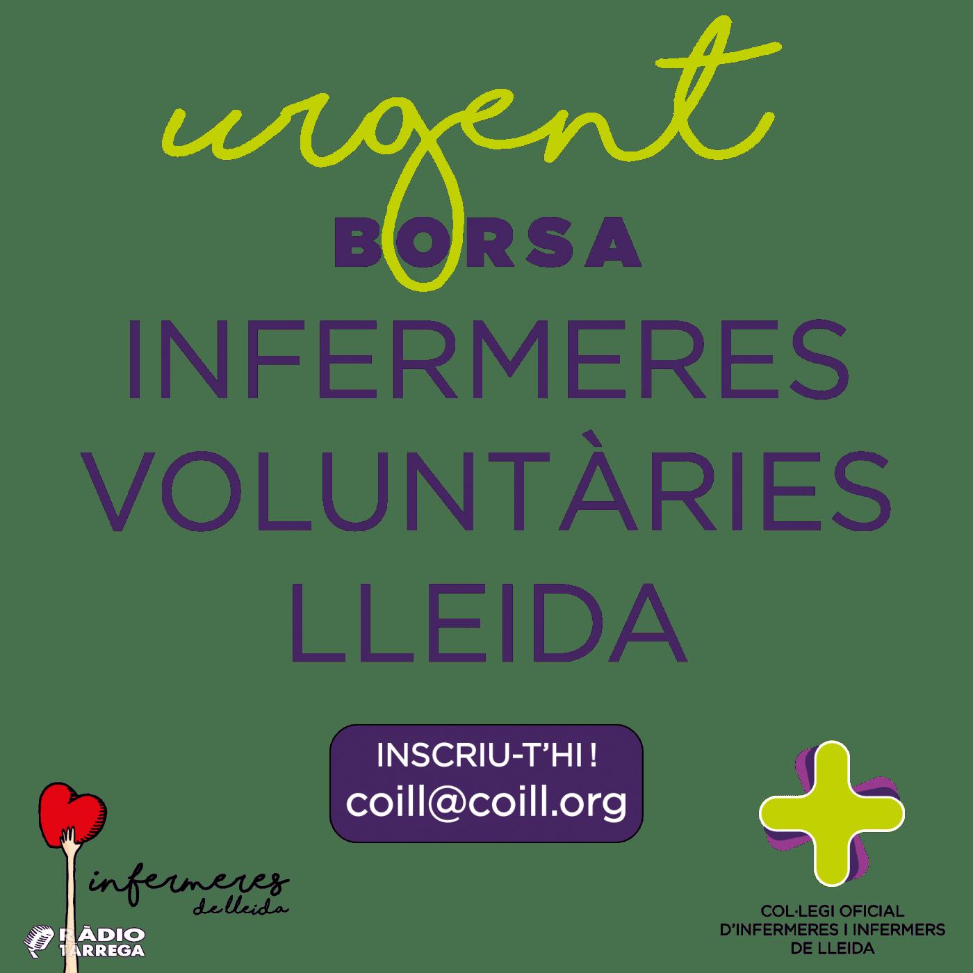 El COILL fa a una crida urgent per reclutar Infermeres Voluntàries a Lleida