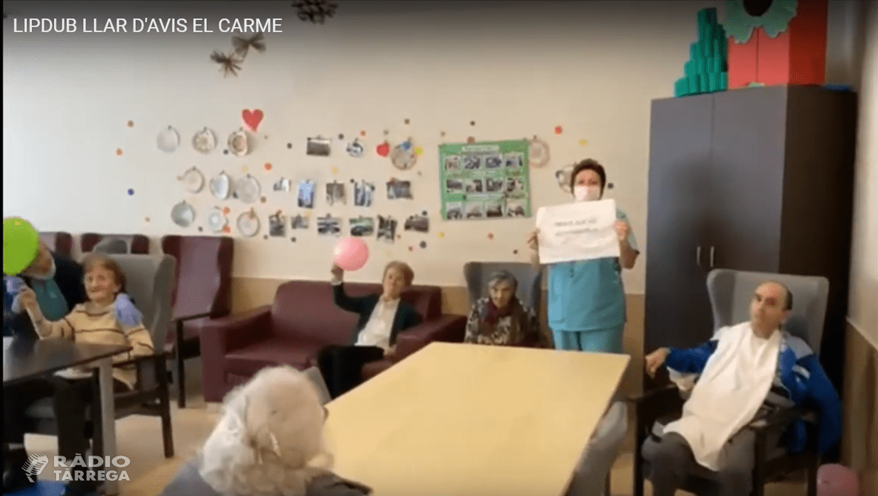 La residència llar d'avis el Carme de Tàrrega grava un vídeo com agraïment pel suport que estan rebent