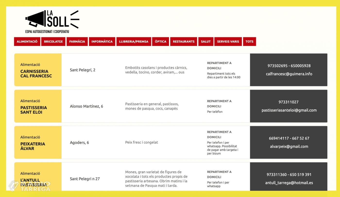 45 comerços de proximitat de Tàrrega i comarca oberts durant el coronavirus s'uneixen al llistat cooperatiu xarxa.lasoll.cat