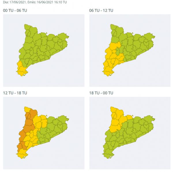 Protecció Civil activa en Alerta el Pla INUNCAT per la previsió de precipitacions intenses demà a la meitat oest de Catalunya