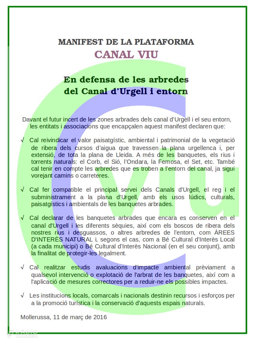 Tornabous s'adhereix al Manifest en Defensa de les Banquetes arbrades del Canal d'Urgell i entorn