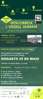 Dissabte 29 de maig, Caminada turística a Tàrrega- Descobreix el Camí Ignasià a l'Urgell