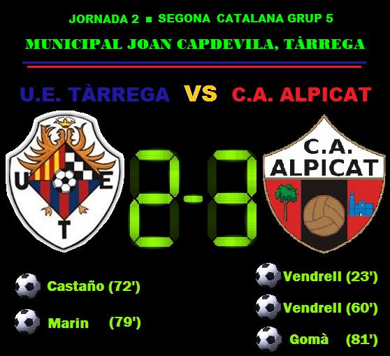 Crònica - Jornada 2 Segona Catalana: UE Tàrrega 2-3 CA Alpicat