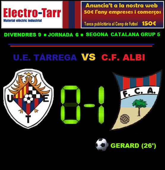 Crònica - Jornada 6 Segona Catalana: UE Tàrrega 0-1 CF Albi