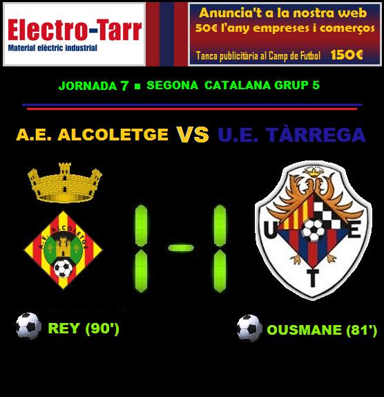 Crònica - Jornada 7 Segona Catalana: AE Alcoletge 1-1 UE Tàrrega