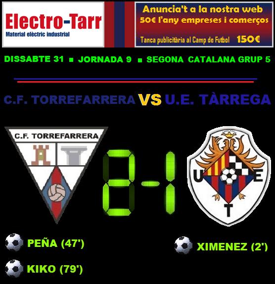 Crònica - Jornada 9 Segona Catalana: CF Torrefarrera 2-1 UE Tàrrega