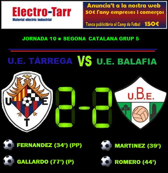 Crònica - Jornada 10 Segona Catalana: UE Tàrrega 2-2 UE Balafia