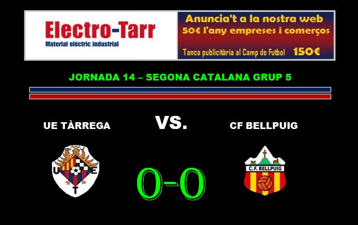 Crònica - Partit Jornada 14 - UE Tàrrega vs CF Bellpuig