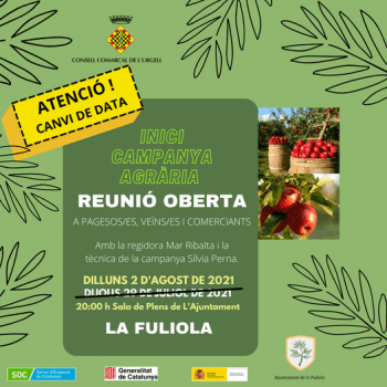 ATENCIÓ, Canvi de data a la #fuliola.  Preparem la campanya de la fruita