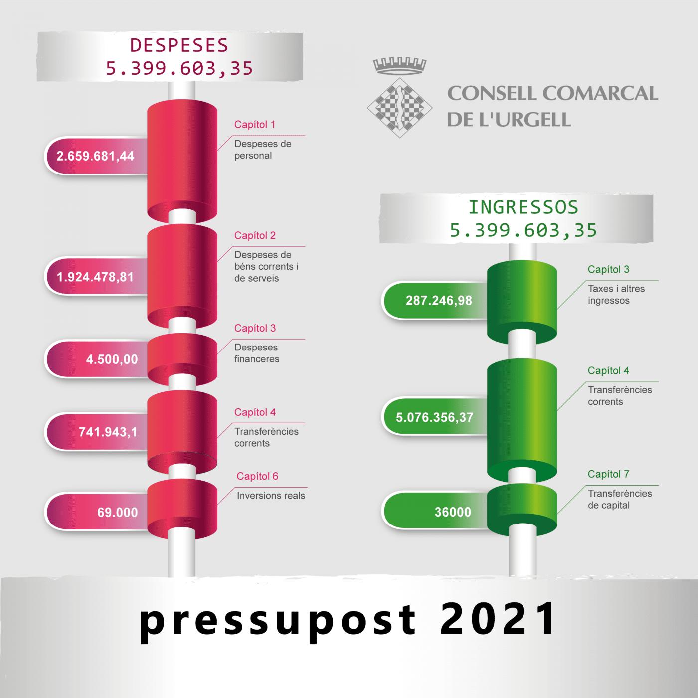 El Consell Comarcal de l'Urgell aprova un pressupost per al 2021 amb un increment molt destacat pel que fa a l'àrea de serveis socials.