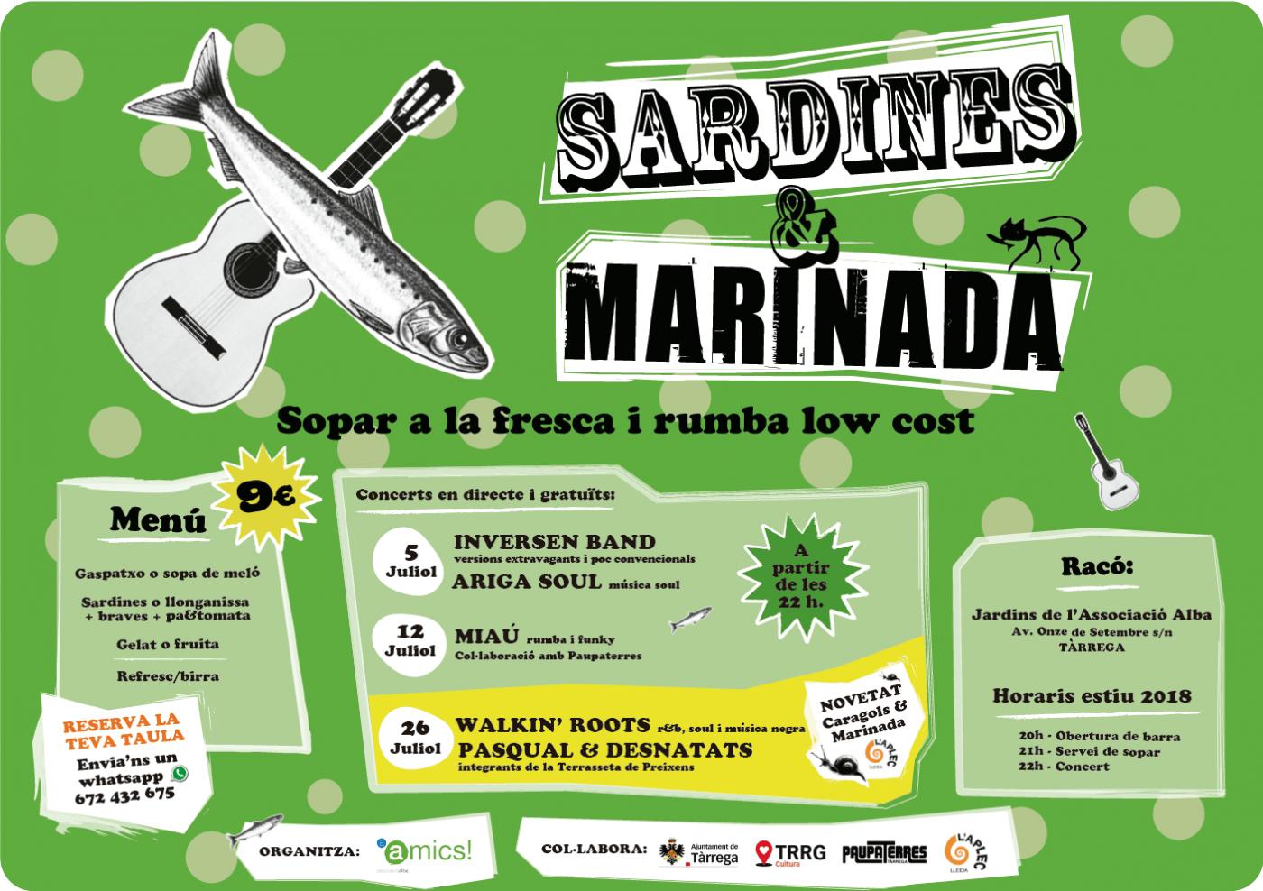 EL FESTIVAL SARDINES & MARINADA  OMPLIRÀ UN ANY MÉS ELS JARDINS DE L'ASSOCIACIÓ ALBA EL 5, 12 I 26 DE JULIOL