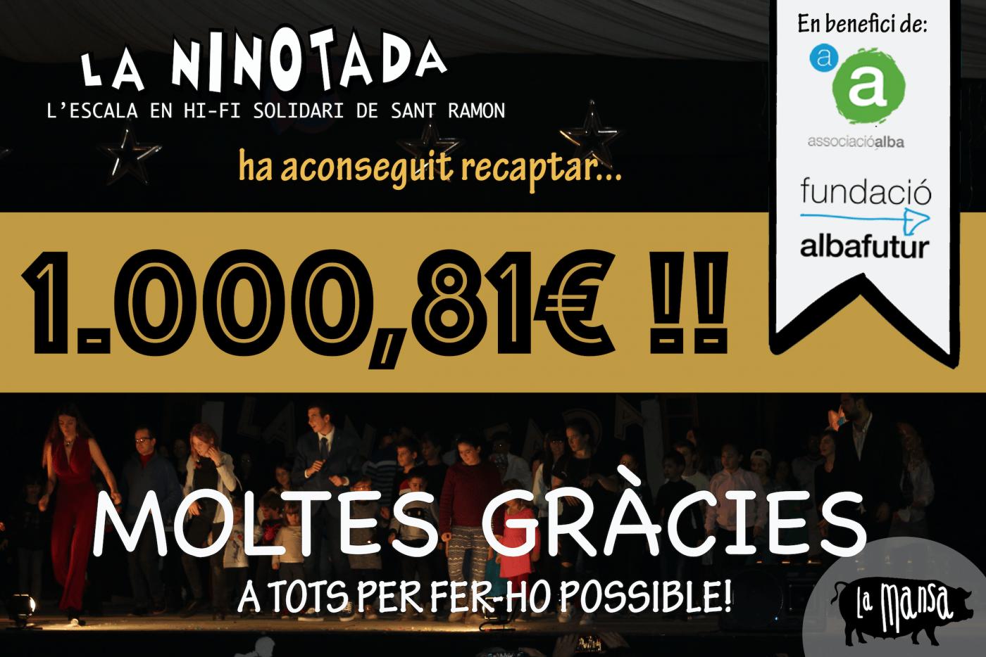 La Ninotada recapta 1.000 euros en benefici de l'Associació Alba de Tàrrega